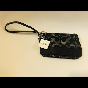 Coach Small Black Canvas Wristlet- New With Tags